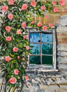 Roses Climbing an Old Wall